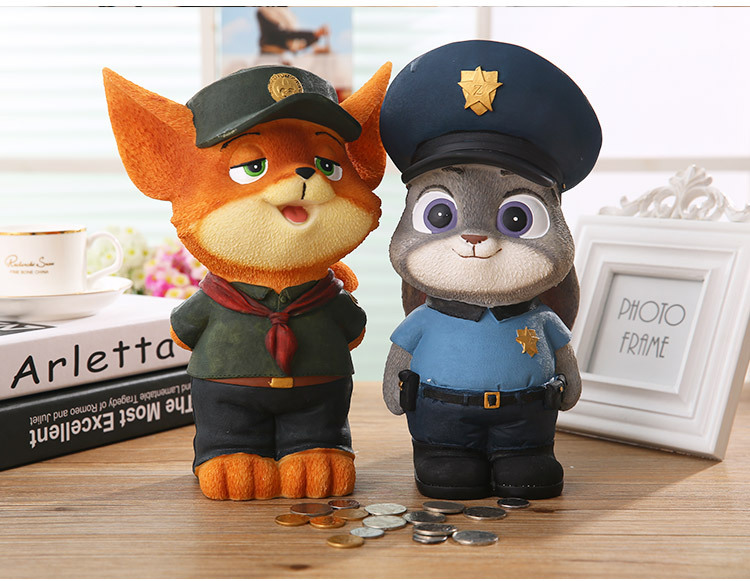 1PCS Cartoon Movie <font><b>Zootopia</b></font> <font><b>Judy</b></font> <font><b>Rabbit</b></font> Nick Fox 18cm Resin <font><b>Action</b></font> <font><b>Figures</b></font> <font><b>Animals</b></font> Piggy Bank <font><b>Toys</b></font> Gifts For Kids