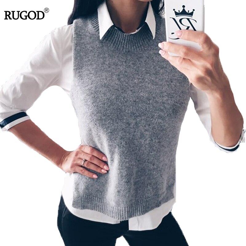 Rugod 2018 Otoño Invierno chaqueta mujer chaleco cálido lana chalecos más tamaño gris sin mangas cuello redondo tejido vestido femenino