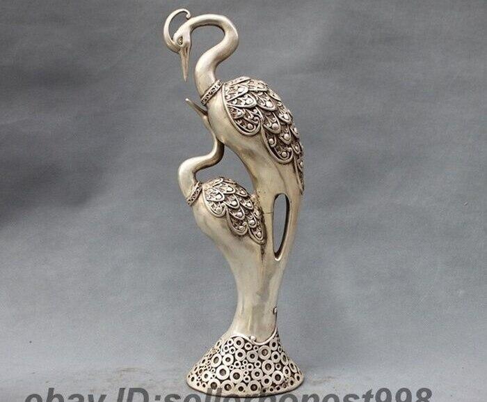 """Amichevole 16 """"la Cina Fengshui Due Pavone Peahen Del Tibet Argento Bianco Di Rame Uccello Statua Forte Imballaggio"""