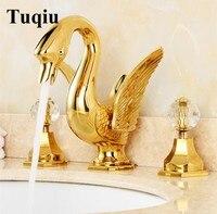Роскошная ванная комната кран твердая латунная конструкция Лебединое горячей и холодной золото 8' широкое смеситель ванной комнате раковин