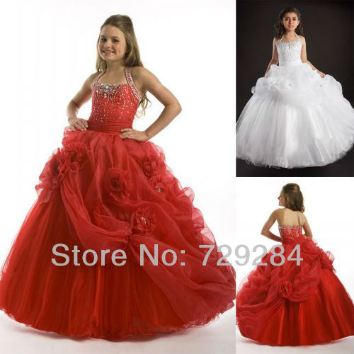 red white ruffles pageant gowns kids halter flower Pleat cute girl ...