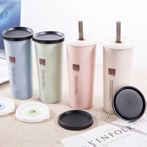 Hand-Cup Wheat-Straw Cola Travel Cup Coffee Plastic Double-Lid Portable Home Office 1