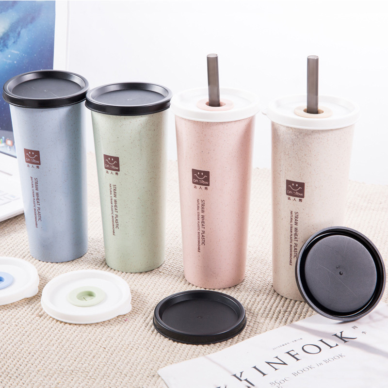 1PC Portable Hand Cup Wheat Straw Water Cup With Straws Double Lid Cola Coffee Plastic Travel Cup Drinking Cup Home Office Gifts
