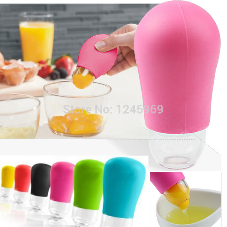Great quality plastic Home Kitchen Tool Silicone Pluck Eggs White Separator Yolk Extractor Divider P
