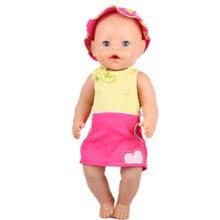 Yellow Vest Red Short Skirts Sun Hat Wear Fit 43cm Baby Born zapf Children Best Birthday