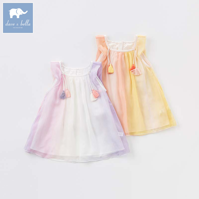 Dave bella princess baby girls dress children summer mesh clothing toddler party wedding clothes DB7212 цены онлайн