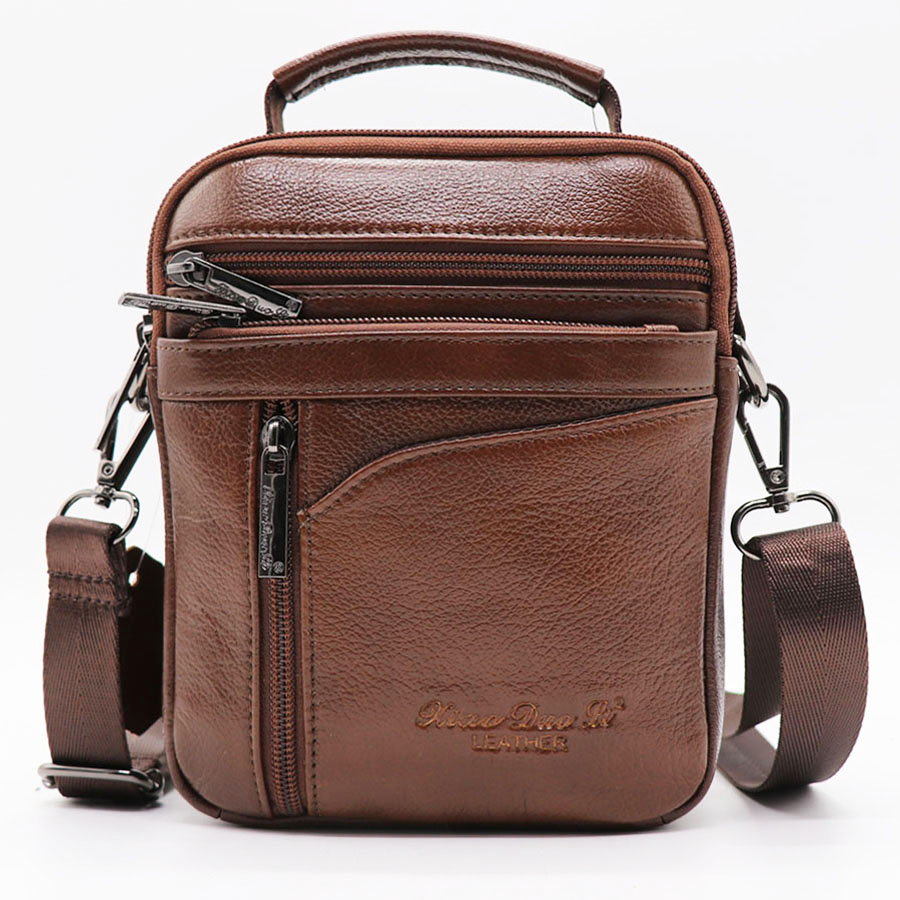 Causal Genuine Leather Small Handbag Cowhide Men Shoulder Bags Men's Messenger Bag Male Cross Body Bag Zipper Travel Pack