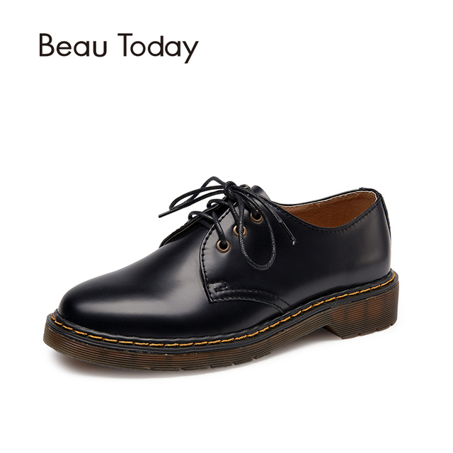Beau Today Brand 2017 Luxury Design Genuine Leather Oxfords Women Shoes Black Martin Shoes Wine Red High Quality