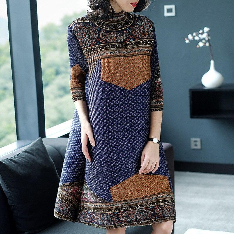 LANMREM 2019 New Fashion Chinese Style Loose Turtleneck Three Quarter Sleeve Simple Elegant Printing Women Pleated