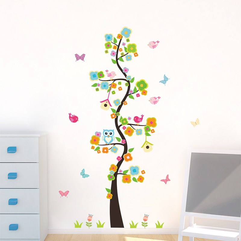 Animals Owl Butterfly Flower Tree Wall Stickers For Kids