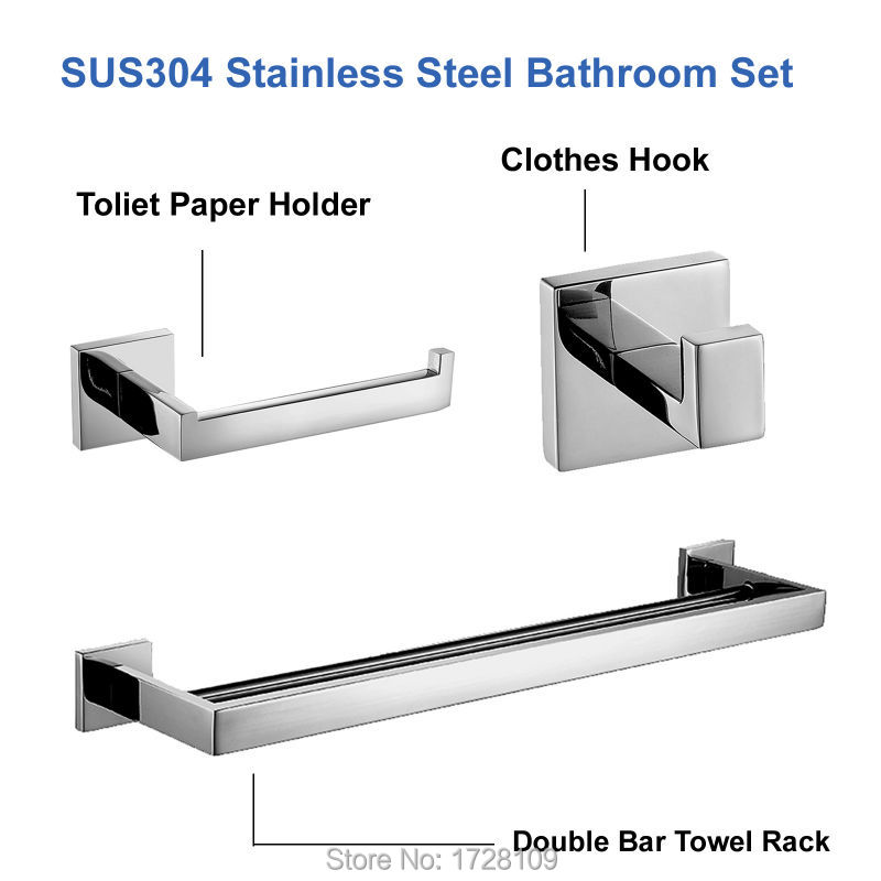 Mirror Polished SUS 304 Stainless Steel Bathroom Accessories Set Robe Hook Towel Bar And Toilet Paper