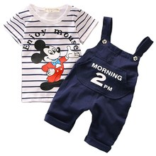 hot deal buy 2018 boys summer fashion mickey clothes set children clothing sets cartoon short sleeve tshirt top+shorts baby boys girls clothe