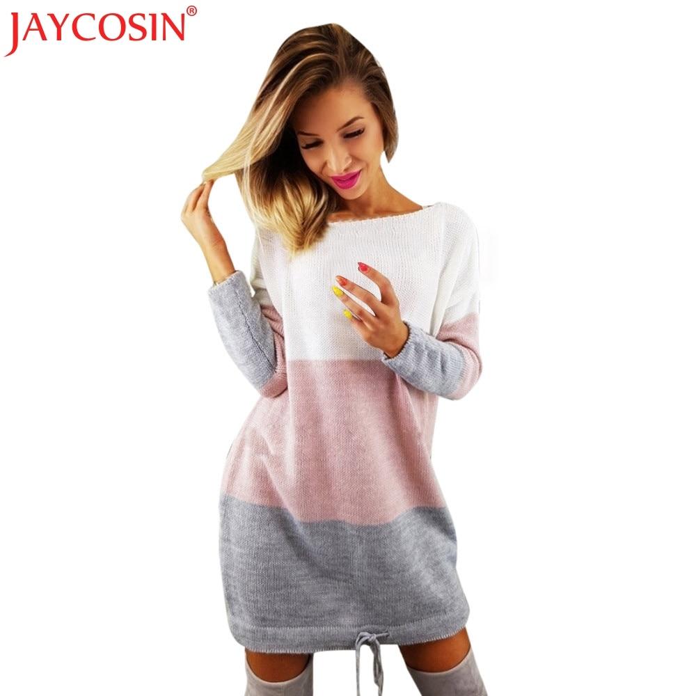 JAYCOSIN Dresses Womens Holiday O Collar Knit Party Ladies Casual Dress Long Sleeve Winter Dress Dropship Freeshipping 30p