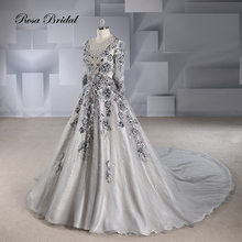 Rosabridal ball gown Wedding Dress 2019 new Long Sleeves O-neck Black Lace with flower beading Appliques over tulle bridal gown white ivory lace customized flower girls dress for wedding birthday gown o neck short sleeves beading tulle christmas dress