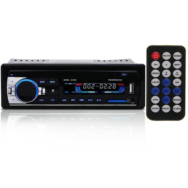 JSD520 Car Radio Autoradio 12V Bluetooth V2.0 Car Stereo 1 Din FM Aux Input Receiver In-dash SD USB MP3 MMC WMA Car Radio Player