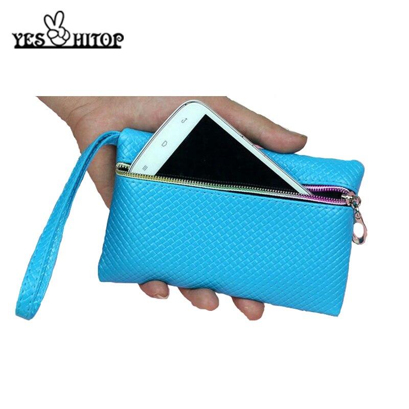 Carteira feminina de cores doces, carteira de celular de 2019, vermelha, rosa, preto, branco e azul, 16*10cm, para mulheres zíper de couro pu