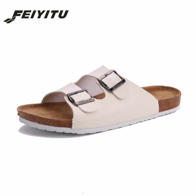 eb92a8fe944 FeiYiTu Summer Unisex Cork Slipper Sandals men Casual Beach Flip Flops  Slides Shoe Flat With Plus