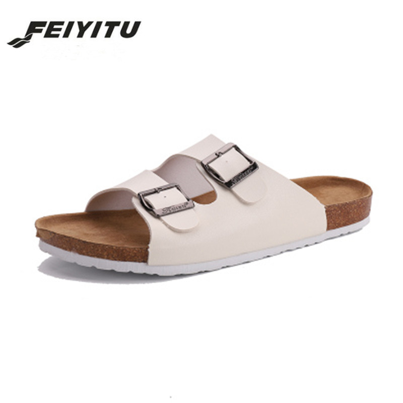 FeiYiTu Summer Unisex Cork Slipper Sandals men Casual Beach Flip Flops Slides Shoe Flat With Plus Size 35-43 white black red стоимость
