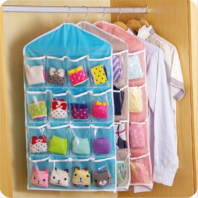 Çocuk Odası Çok fonksiyonlu saklama çantası Şeffaf 16-ızgara Sıralama Asılı Çanta Banyo Alma Çantası Bebek Yatak Setleri