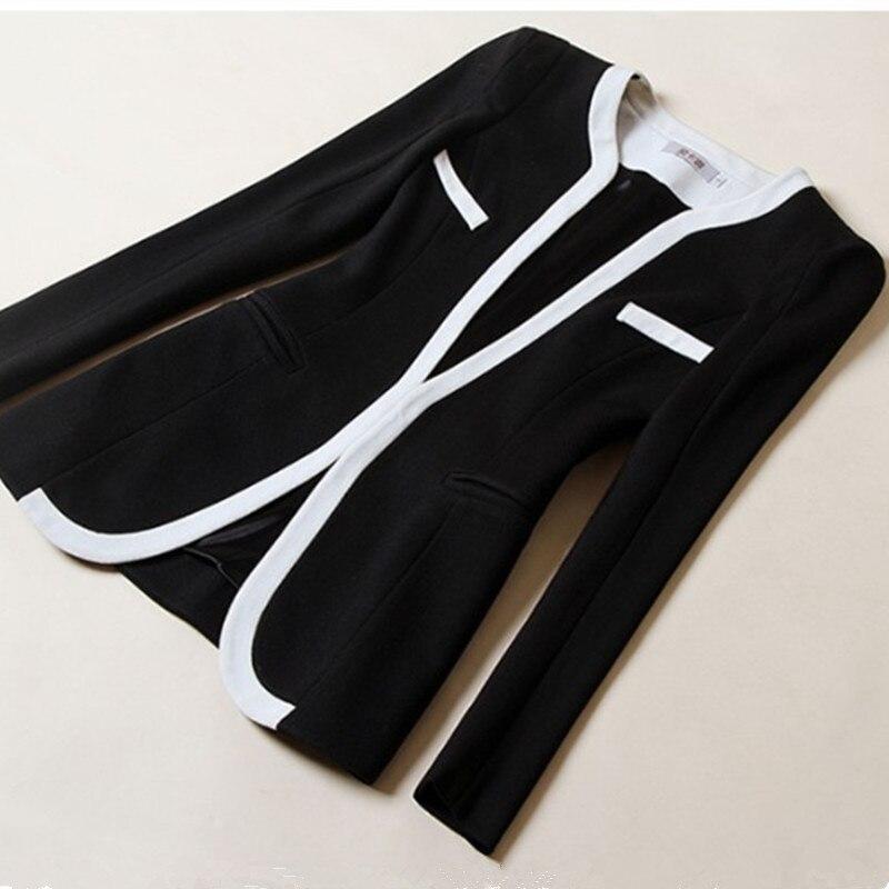 Verantwortlich Frauen Kurze Blazer Schwarz Weiß Farbblock Langhülse Kurze Jacke Oberbekleidung Kleine Mantel Eba093 Blazer Frauen Kleidung & Zubehör