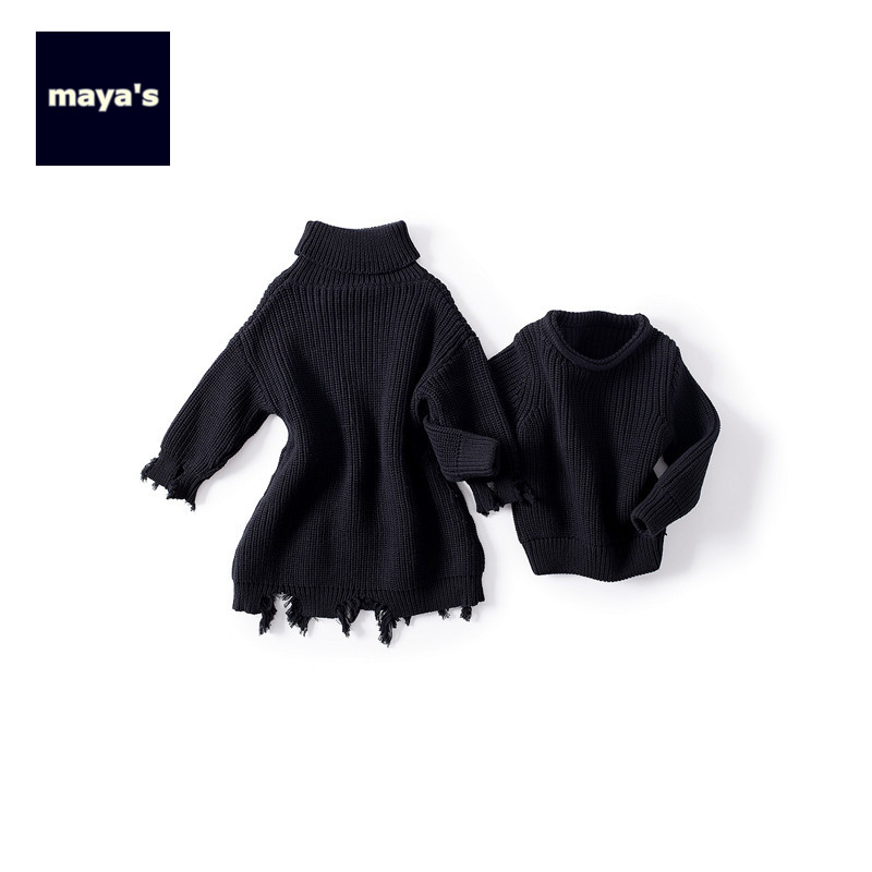 Mayas Fashion Black Knitted Winter Boys Sweaters Cotton Soft Loose Long Basic Autumn Girls Pullovers Children Warm Tops 81220 children autumn and winter warm clothes boys and girls thick cashmere sweaters