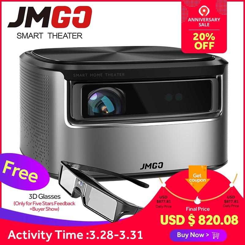 JMGO N7 Full HD Projecteur, 1300 ANSI Lumens, 1920*1080 P, 3D Beamer, projecteur android pour Home Cinéma. Soutien WIFI, Bluetooth, 4 K