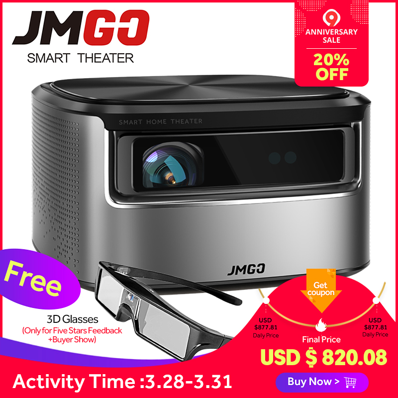 JMGO N7 Proiettore Full HD, 1300 ANSI Lumen, 1920*1080 P, 3D Beamer, android Proiettore per Home Theater. Supporto WIFI, Bluetooth, 4 K
