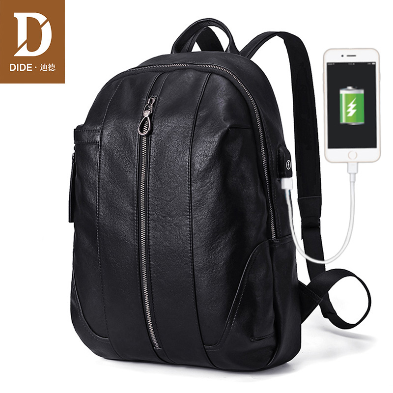 DIDE 2018 New Anti thief USB Bagpack Men Leather Backpack Youth Travel Rucksack School Backpack Male