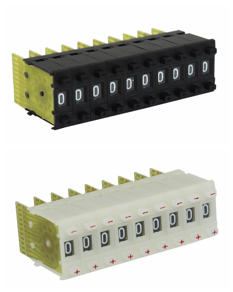 Black 22mm x 8mm 0-9 Digits Decimal/BCD Pushwheel Thumbwheel Switches KM1