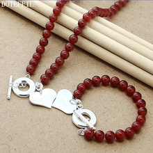 Red Pearl 8mm Chain Necklace Bracelet 925 Silver Charm H Women Jewelry Natural Pearls Necklace Bracelet Jewelry Set pearl 8mm chain necklace bracelet 925 silver charm round card women jewelry natural red pearls necklace bracelet jewelry set