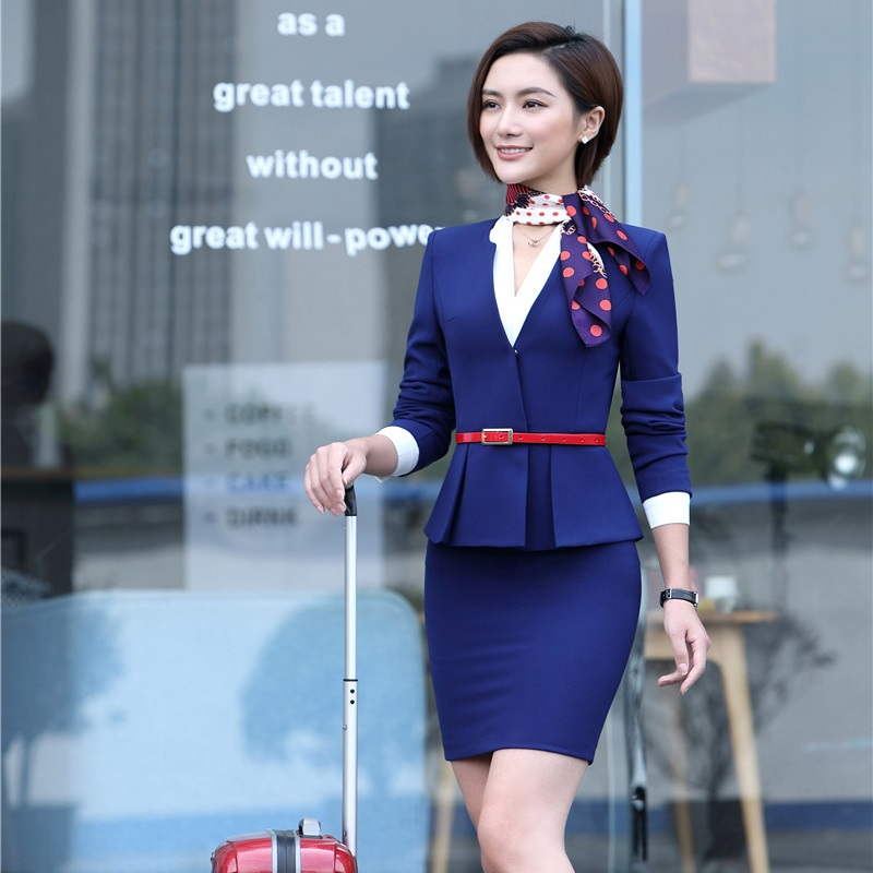 Formal Blue Blazer Women Skirt Suits Work Wear Sets Ladies Business Suits Office Uniform Designs Scarf
