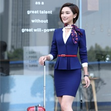 Formal Blue Blazer Women Skirt Suits Work Wear Sets Ladies Business Suits Office Uniform Designs (Scarf and Belt are Included)