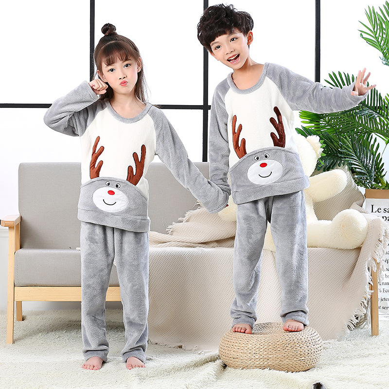 Autumn And Winter Children's Flannel Pajamas Female Boy Home Service Suit Gray Boy And Girl Protection Coral Fleece Two-piece
