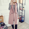 Thick Long Woolen All-match Jacket Purple Vest Female Gilet Femmes Turn Down Collar Double Breasted Vests