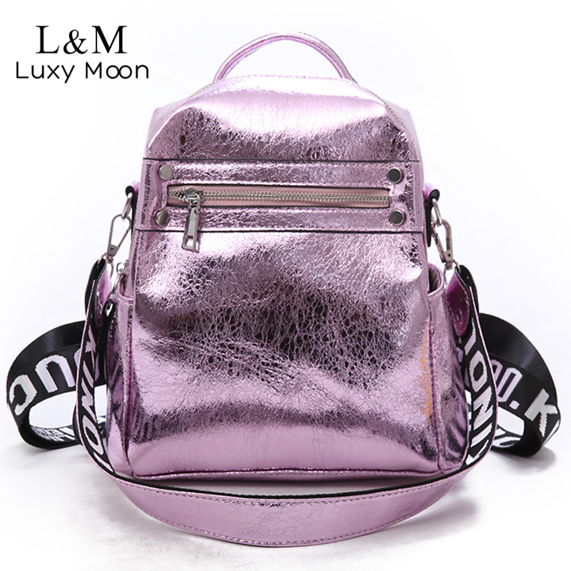 Glitter Silver Women Backpack Leather Small School Bag For Teenage Girls  Backpacks Fashion Shoulder Bags Female Mochila XA65H-in Backpacks from  Luggage ... 821732b814560