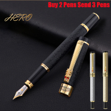 Free Shipping New Arrival Brand Hero Fountain Pen Dragon Clip Metal Student Ink Writing Pen Buy 2 Pens Send Gift