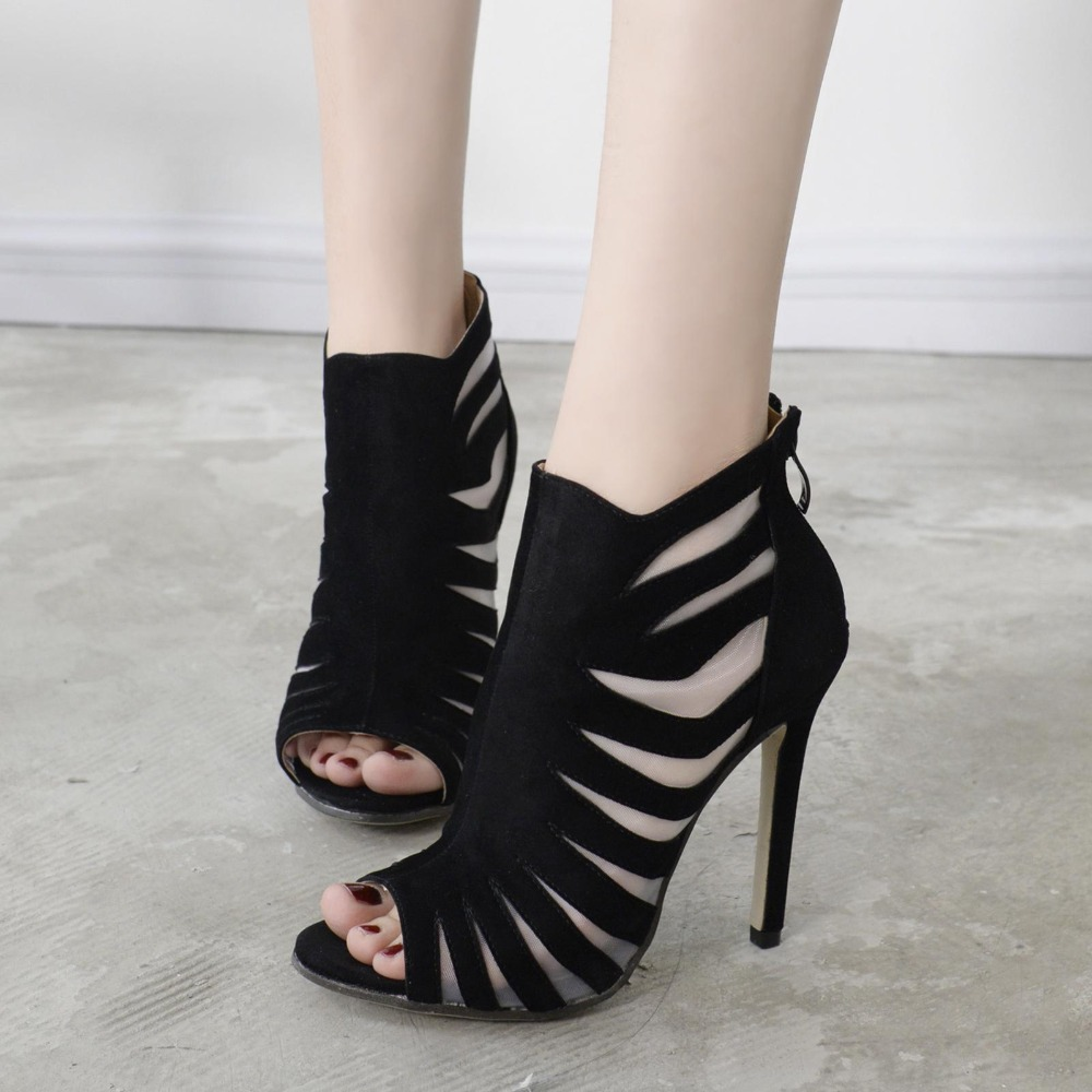 Black mesh sandals - Summer Sandals Women Black Suede Mesh Sandals Fashion Thin Heel Gladiator Sandals Womens Shoes Sexy Open