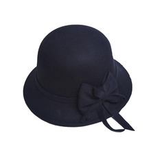 BINGYUANHAOXUAN Women Vintage Felt Round Cloche Hat Flower Bow Fedora Bowler Cap