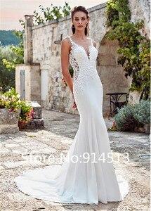 Image 2 - Seksi Mermaid Sweetheart kolsuz düğün elbisesi 2020 aplikler dantel beyaz fildişi şifon prenses gelinlik Vestido De Noiva