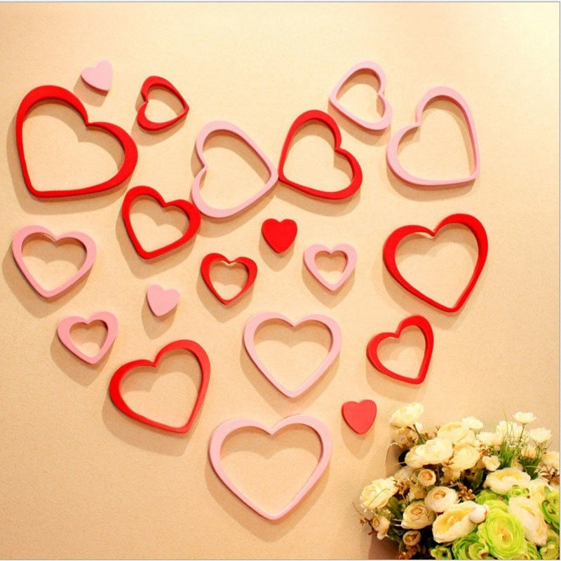 5 pcs 3D DIY Wall Stickers Heart Shape Indoors Decoration Stereo ...