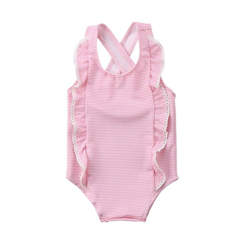 0-24M Toddler Kids Baby Girls Striped Bikini Swimwear Lace Patchwork Cute Swimsuit Bathing Suit Swimwear