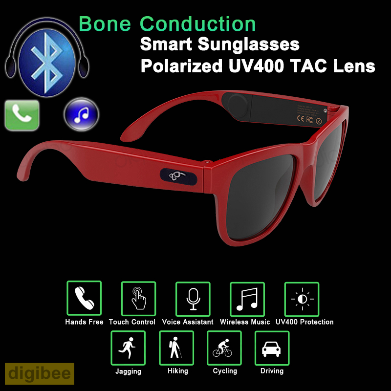 New Fashion Smart Glasses Touch Bone Conduction Headset UV400 Polarized Sunglasses Bluetooth Wireless Headphone with Microphone