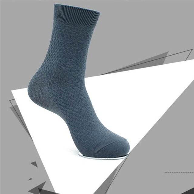 5 pairs/lot Comfortable Men Bamboo Fiber Socks Casual Business Anti-Bacterial Deodorant Breathable Man Sock Black Crew Wholesale