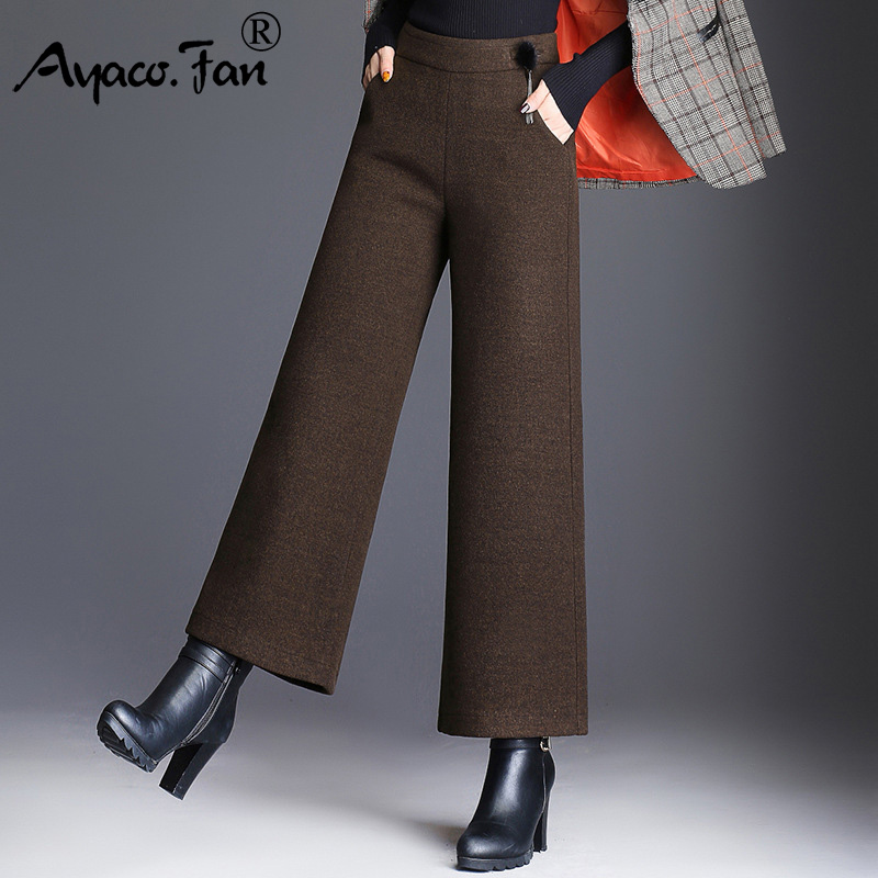Autumn Winter Warm Women Thick   Wide     Leg     Pants   High Waist Slim Ankle-Length   Pants   with Woolen Casual Loose Trousers Plus Size 5XL