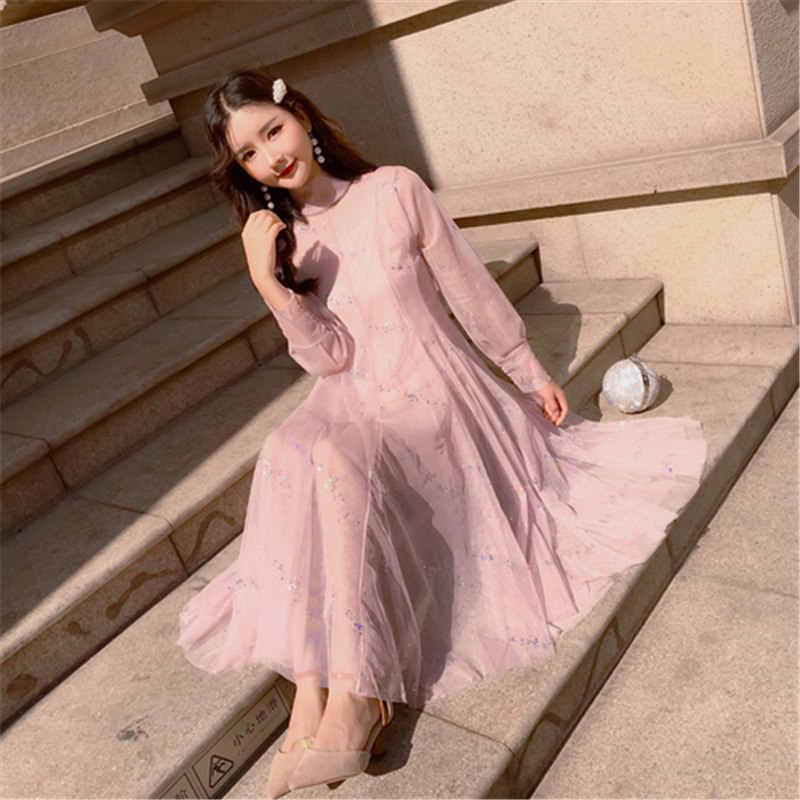5b8ec66a977273 ... 2019 New Japan Style Loose Women's Clothing Half Collar Mesh Lace  Spring Summer Sweet Dress Female ...
