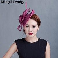 Feather Fuchsia Fascinator for Party Hats Wedding Accessories Bridal Headdress Headdress Wedding Hats for Women Mingli Tengda
