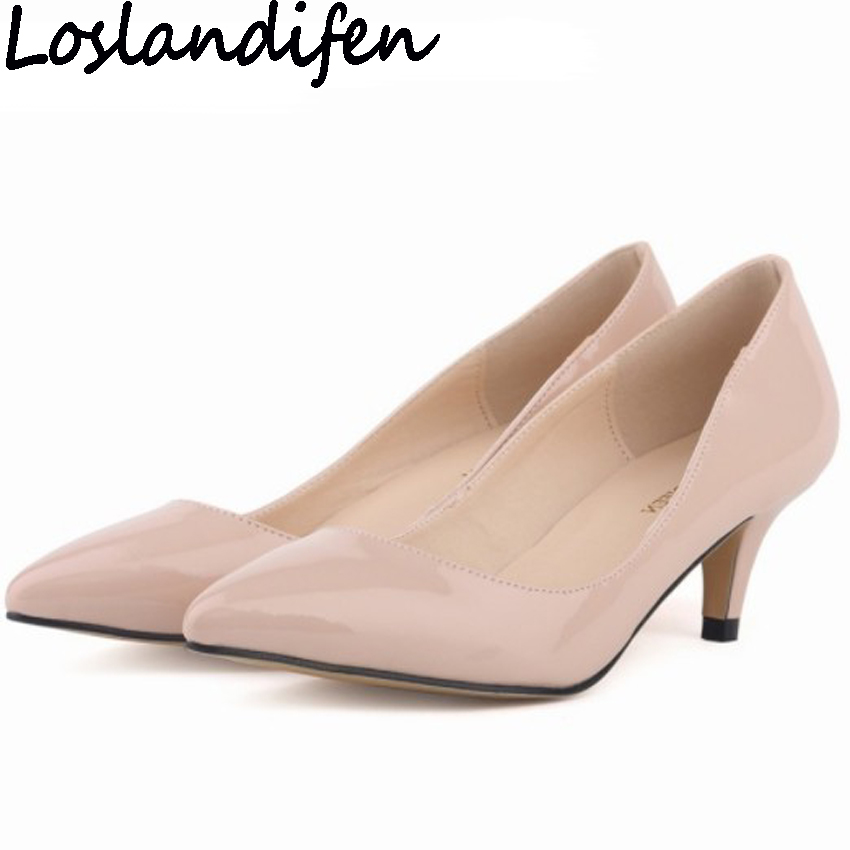 LOSLANDIFEN Brand Women Pumps Low Heel Dress OL Career Shoes Solid Color Pointy Toe Shallow Mouth Casual Shoes Plus Size 35-42 swallow shaped handlebar carbon fiber bicycle handle bar mountain bike mtb handlebars 31 8 750 820mm ultra long manillar bicycle