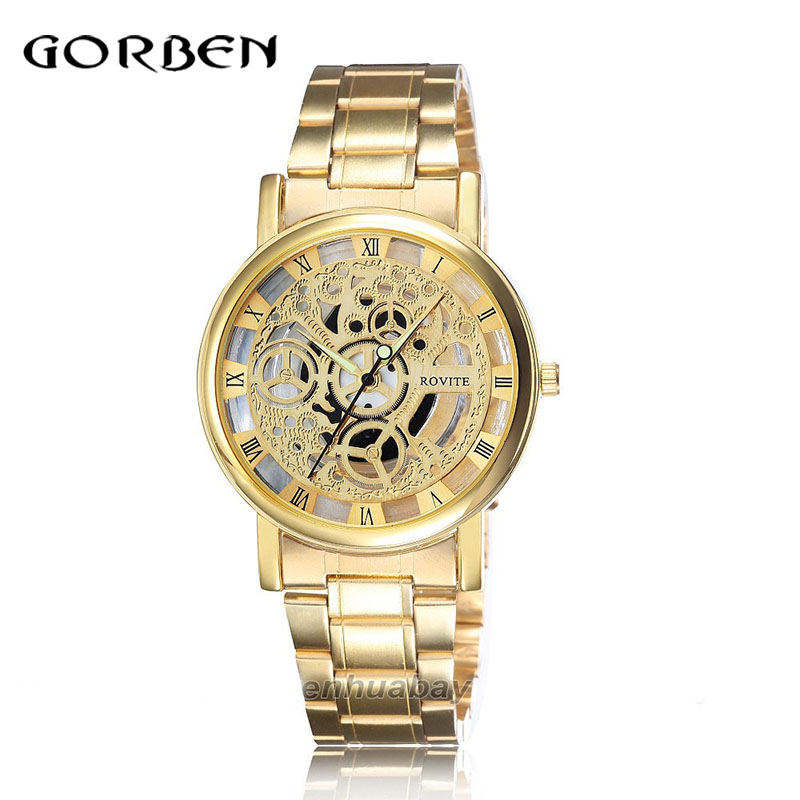 Fashion Quartz Watches women luxury Stainless Steel Skeleton Dial Mens Watch Casual Brand Dress Watch relojes