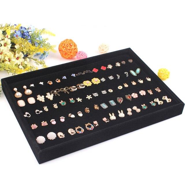 Free Shipping Black Jewelry Display Ring Tray Stud Earring Plate Jewelry Organizer Showcase Ring Earrings Shelf Ear Stud Case