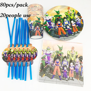 Image 1 - 80 stücke Dragon Ball thema einweg teller tassen servietten Dragon Ball einweg tassen strohhalme Dragon Ball geburtstag partei liefert